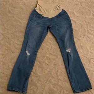 Indigo blue maternity jeans full panel